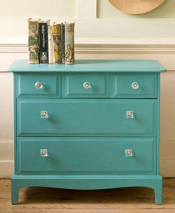 A chest of drawers painted in Provençe without giving it the distressed look at all, by painting it smoothly - maybe add a little water to the paint - from Quick & Easy Paint Transformations by Annie Sloan photo by Christopher Drake published by Cico books.