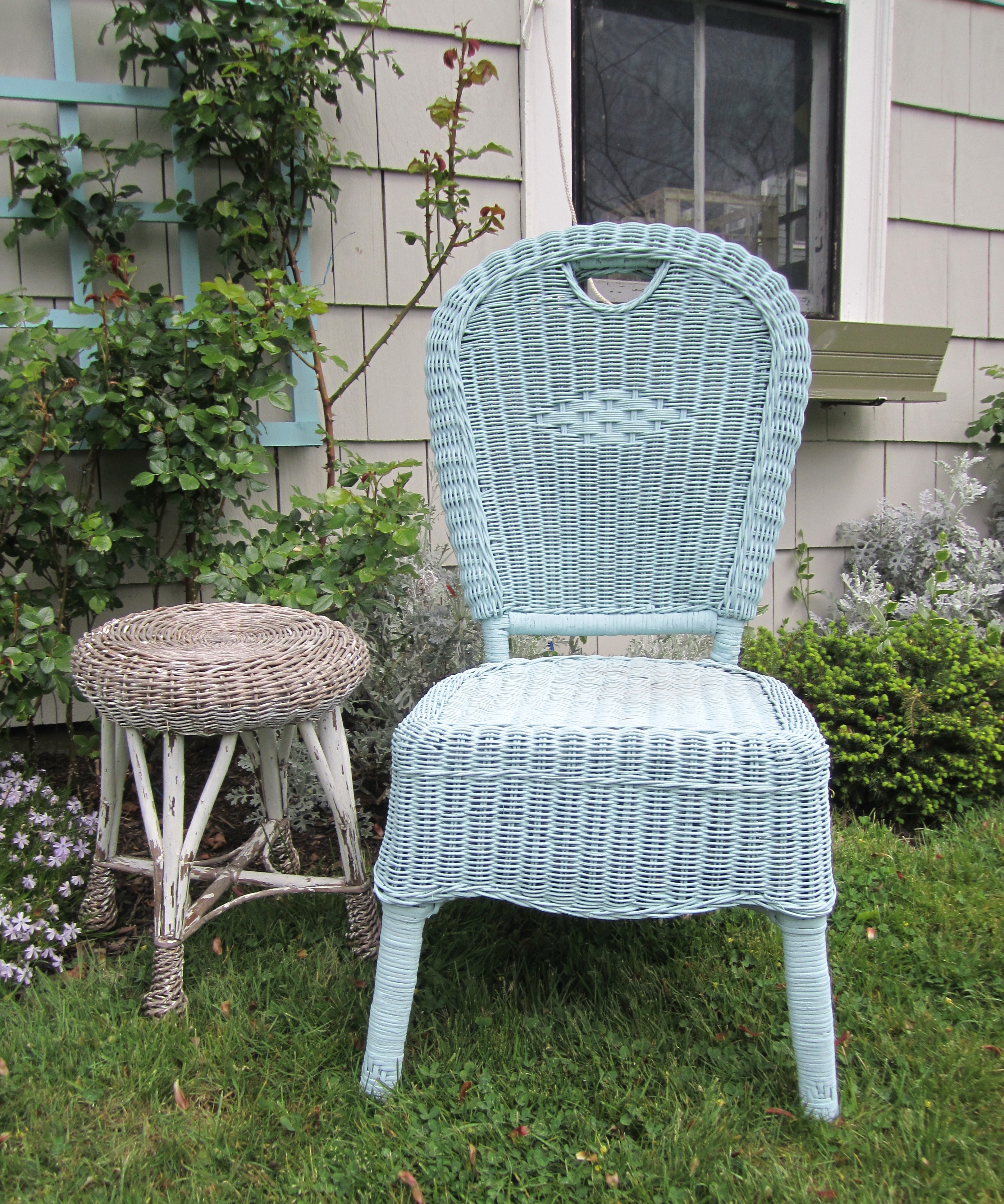 Painted Wicker Garden Chair