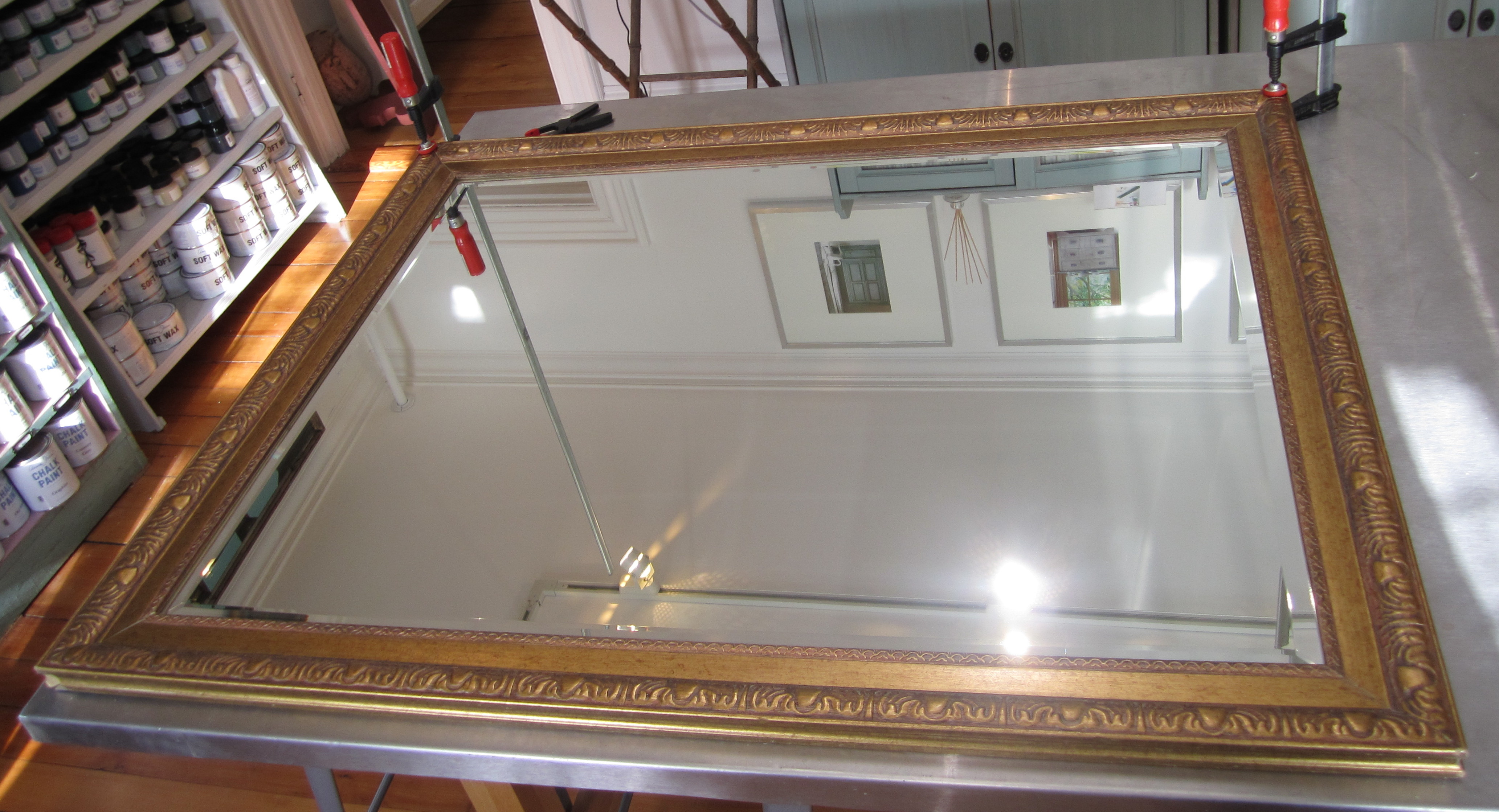 Gilded Stenciled Painted Mirror Before & After