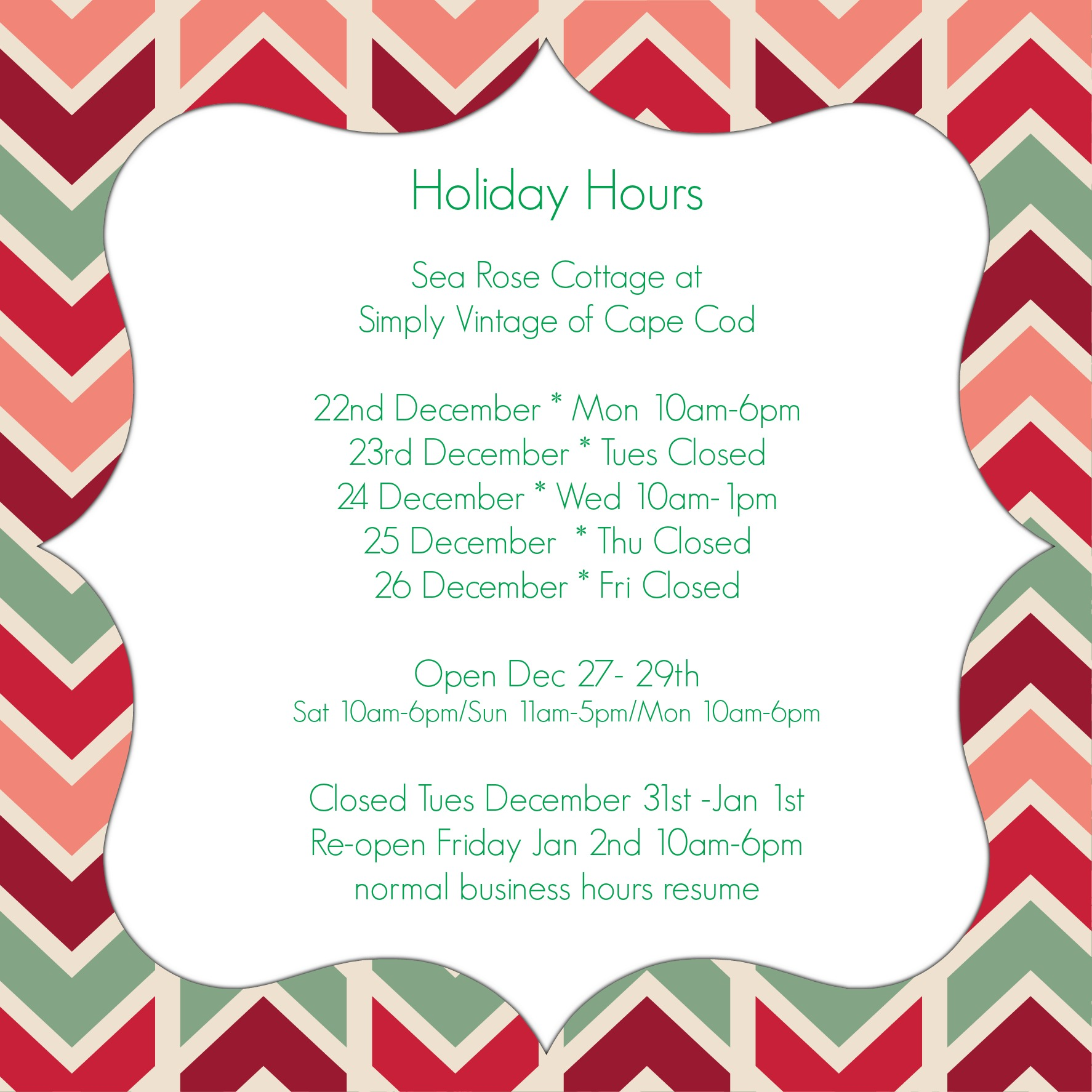 SVCC Holiday Hours pmed